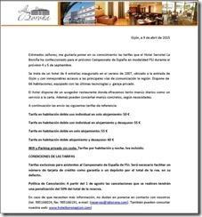 Tarifas Hotel